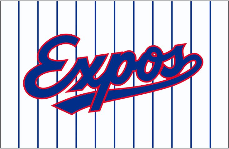 Montreal Expos Jersey Logo (1992) - Expos scripted with underscore in blue with a red outline on a white uniform with blue pinstripes. Worn on the Montreal Expos home uniforms from 1992 until 2004
