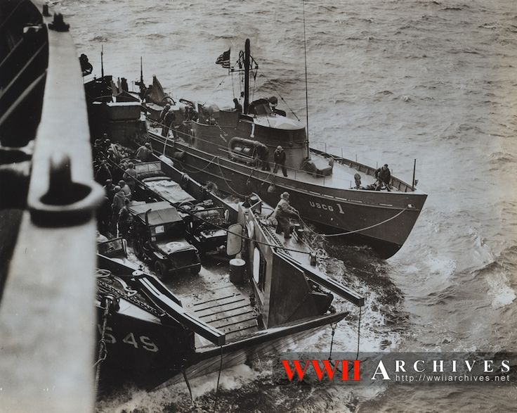 World War II Photograph: The U.S. Coast Guard's famous 83 footers, sub-busters in the Battle of the Atlantic, and to their laurels as rescue craft in the D-Day sweep across the English Channel to the French Coast.  These swift, little, intrepid craft are the Coast Guard boats that have been mentioned over and over again in radio and news dispatches for their gallant rescue role during the initial smash on Franc.e