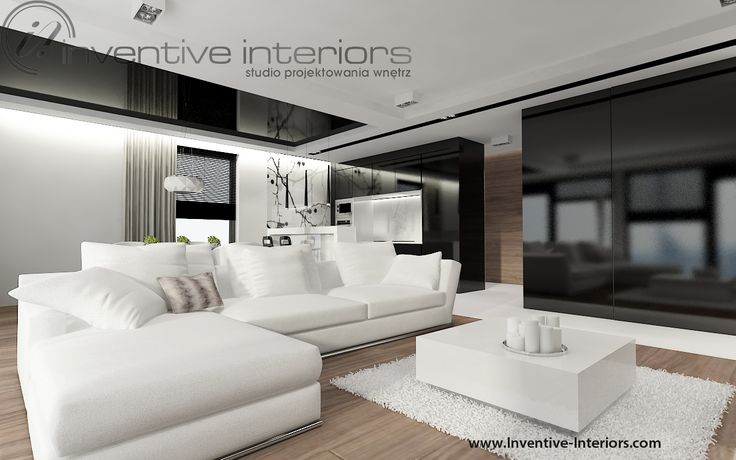 Projekt salonu z aneksem Inventive Interiors - biały narożnik w salonie
