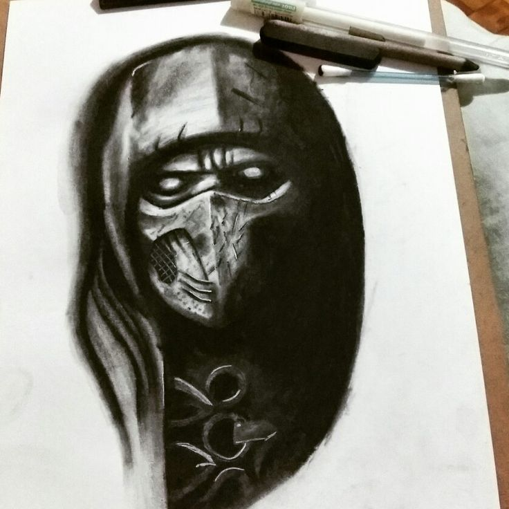 Mortal kombat scorpion draw blackandwhite