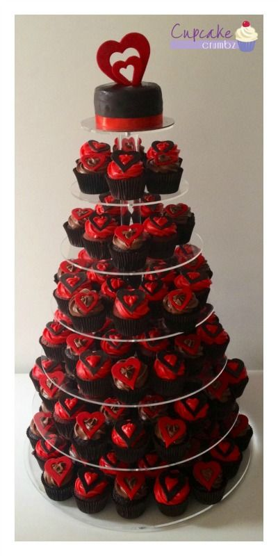Engagement Cupcake Tower Chocolate And Red Velvet