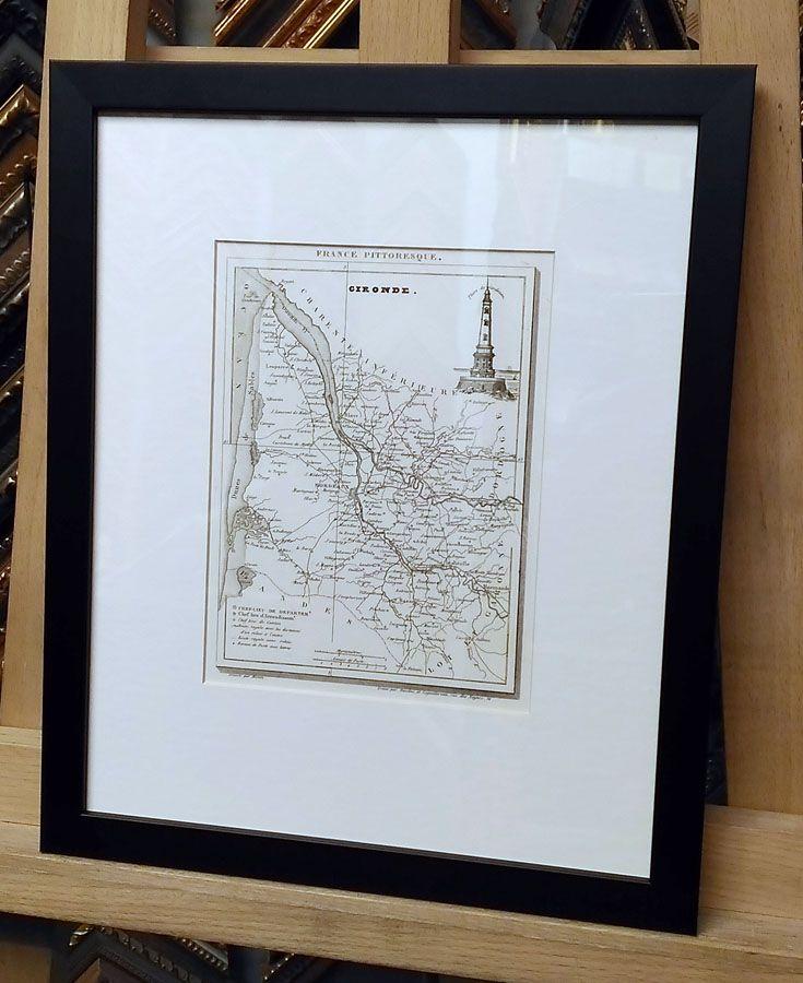Карта, Франция, департамент Gironde. Деревянный багет, паспарту, стекло.