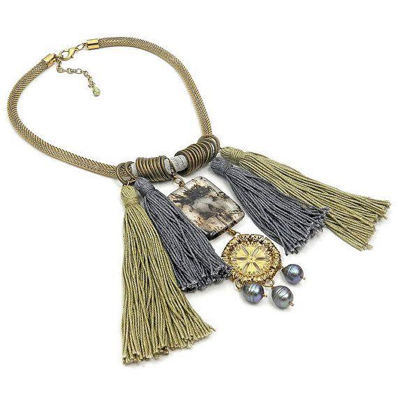 Boho Tassel Statement Necklace - Fringe Necklace - Gray and Khaki - Bohemian…