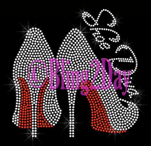 details about clear high heel shoe - red - iron on rhinestone transfer - bling hot fix