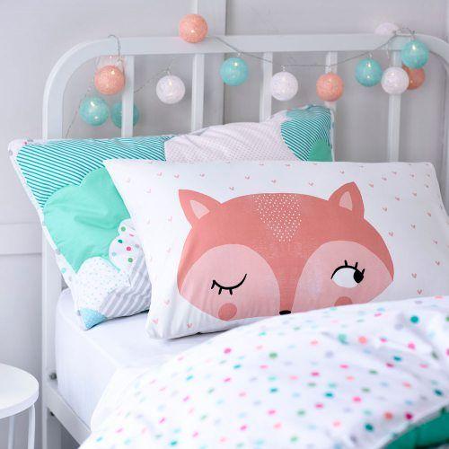 Adairs Kids Pink Fox Pillowcase - Bedroom Pillowcases - Adairs Kids online