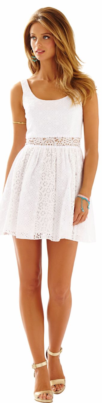 LILLY PULITZER ROSEMARIE EYELET SCOOP NECK DRESS WHITE - spring 2015