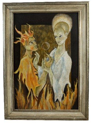 Spiritual Scene By Federico Cantu c. 1954, Oil on Mosonite | Devil Angel nyshowplace.com
