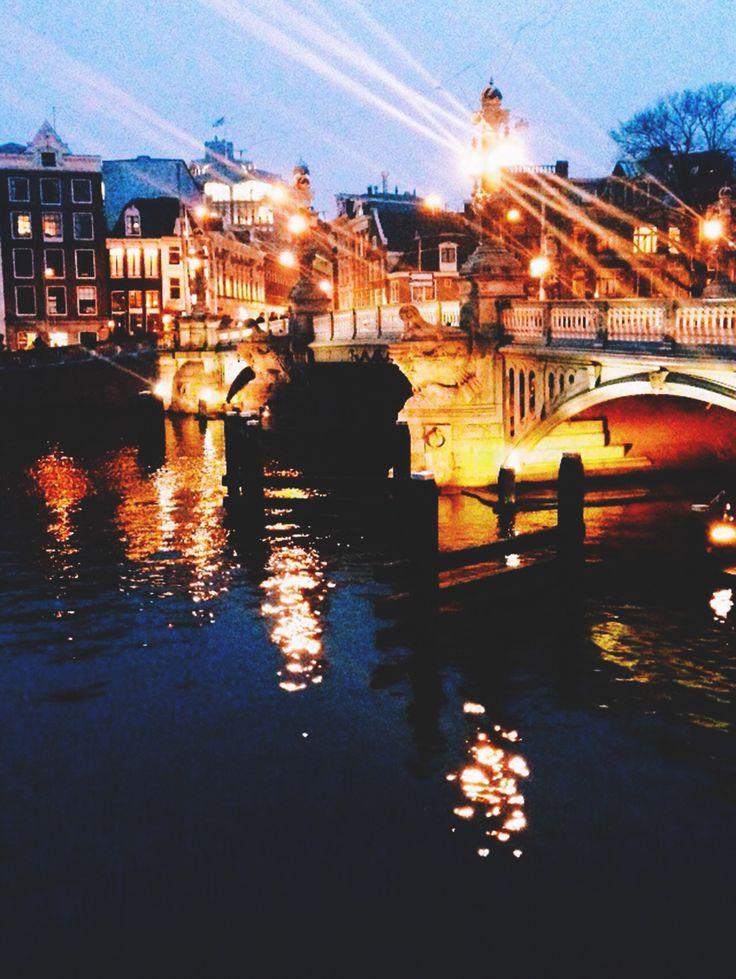 Amsterdam canal lights
