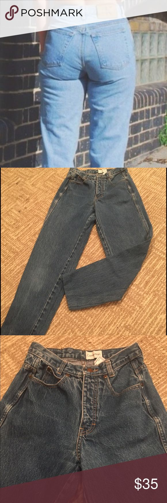 CALVIN KLEIN MOM JEANS DARK WASH Perfect condition Calvin Klein mom jeans high waisted - only flaw is that they are genes to be a bit cropped As shown in photo! Are cute rolled up! First photo is for model purposes and are not the pants- the rest of the photos are! 13 inches waist ( are high waist so above hips) 12 1/2 inseam-  37 1/2 inches long! Fast shipping follow for deals bundle for discounts! Calvin Klein Jeans Boyfriend