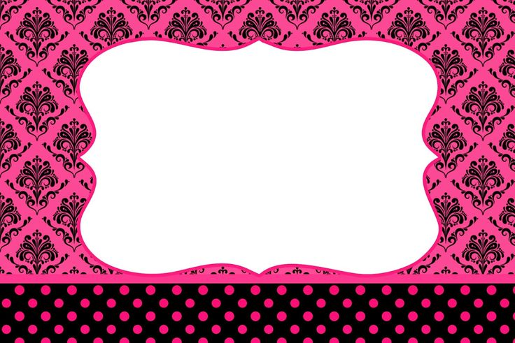 Damask Black in Fucsia: Free Printable Party Invitations.