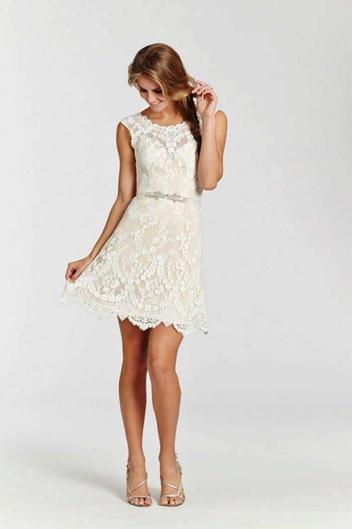 Short wedding dresses with luxury details summer wedding for Short white summer wedding dresses