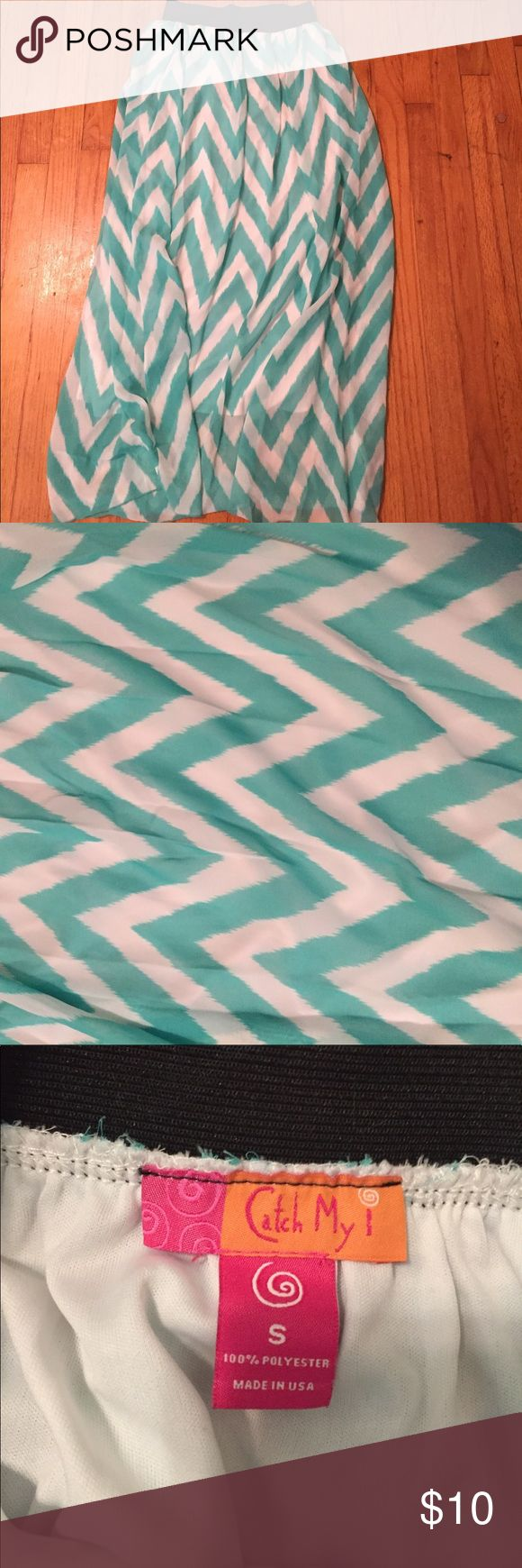 Chevron maxi skirt Turquoise and white maxi skirt from Dillard's. Skirts Maxi