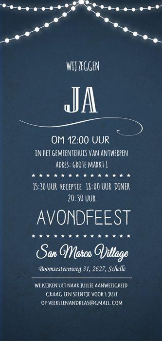 Huwelijk Veerle en Andreas - trouwkaart - achterkant - Pimpelpluis - https://www.facebook.com/pages/Pimpelpluis/188675421305550?ref=hl (# huwelijksuitnodiging - trouw - lampjes - typografie - kaart - huwelijk - vintage - blauw - origineel)