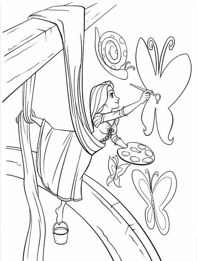 tangled coloring page - Kids Painting Pages