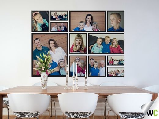 Mother's Day gift ideas; family picture wall in the dining room.