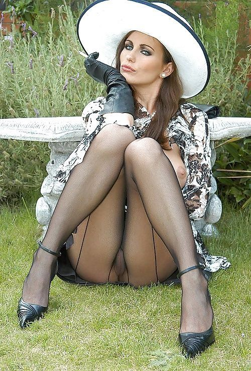 Smoking Beauty Wearing Pantyhose
