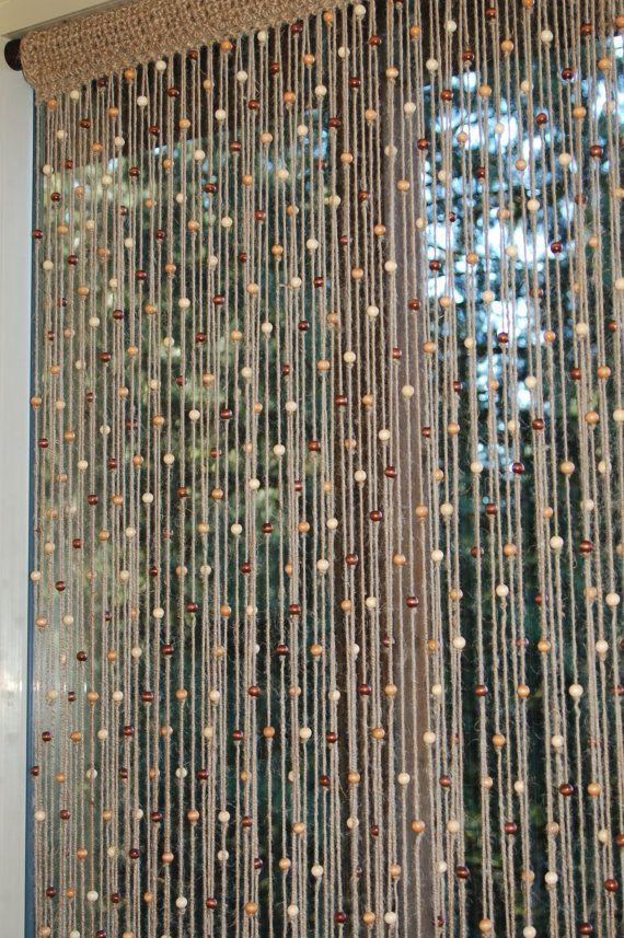 Natural Jute Crochet Curtain Door Window With Wooden Beads
