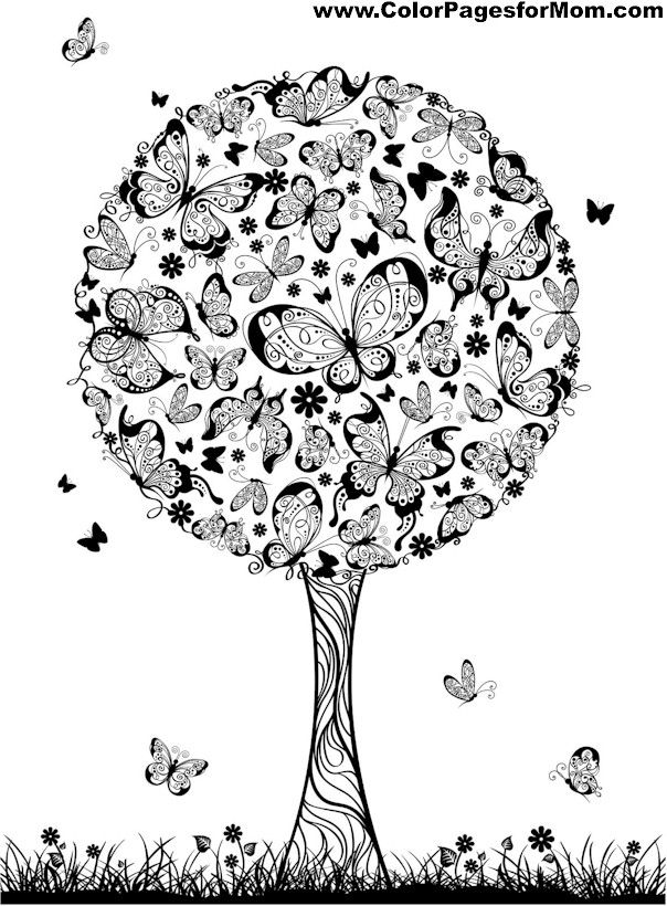Advanced coloring pages tree coloring page