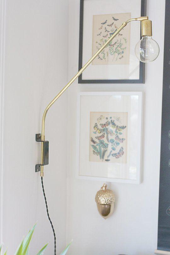 DIY Brass Swing Arm Lighting Sconce
