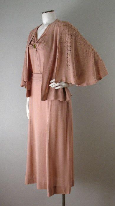 Vintage 1930s CHANEL Dress and Jacket Adaptation Label Large bust 42