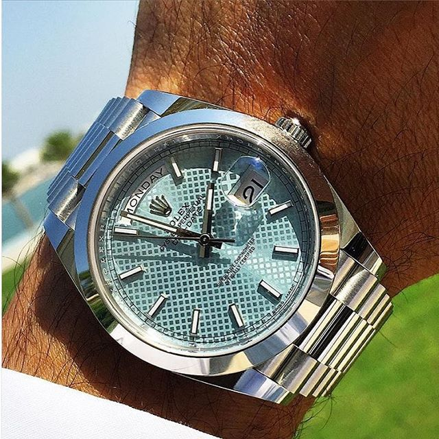 @aficionado1 wearing the new 40mm Rolex DayDate in platinum  #whatchs
