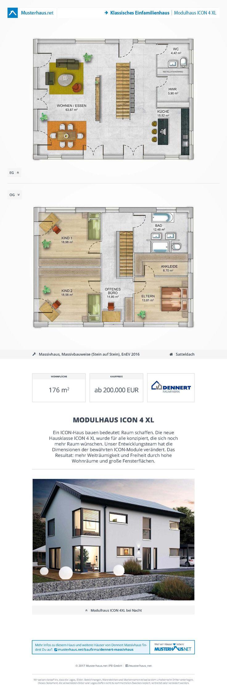 #Einfamilienhaus in der Massivbauweise • Modulhaus ICON 4 XL • Dennert Massivbau • Jetzt bei #Musterhaus.net Unterlagen anfordern!