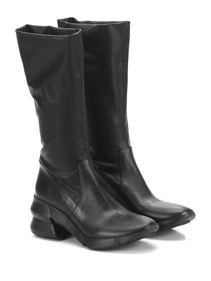 ELENA IACHI - Stivali - Donna - Stivale in pelle ed eco pelle stretch con gambale elasticizzato e suola in gomma extra light. Tacco 70, platform 15 con battuta 55. Altezza gambale 290. - NERO