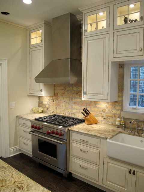 nice brick back splash with lincoln park chicago kitchen