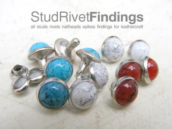 15 sets turquoise in nickel / silver frame by StudRivetFindings