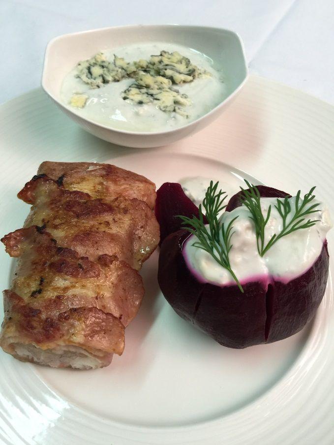 Ryba w boczku z pieczonym ziemniakiem i kwaśnym sosem #ryba #intermarche
