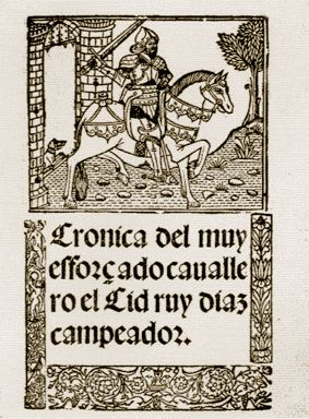 El Cid depicted on the title page of a sixteenth-century working of his story.