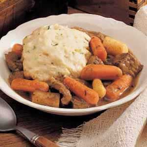 Herbed Beef Stew and Dumplings Recipe..For me I would just sub olive oil for canola oil