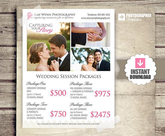 Wedding Photography Package Pricing Photographer Price List Photo Template Bridal Shows Pinterest