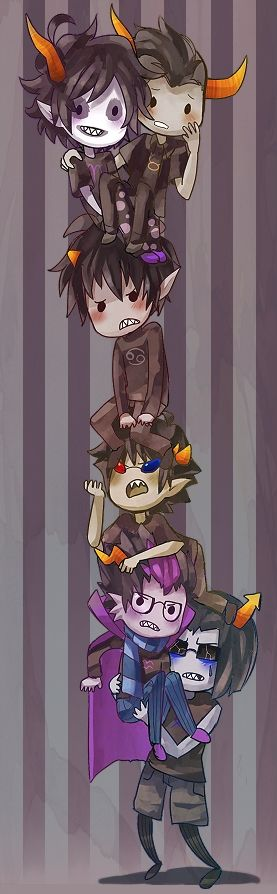 Tags: Anime, Carry, Striped Background, Homestuck, Gamzee Makara, Karkat Vantas, Tavros Nitram