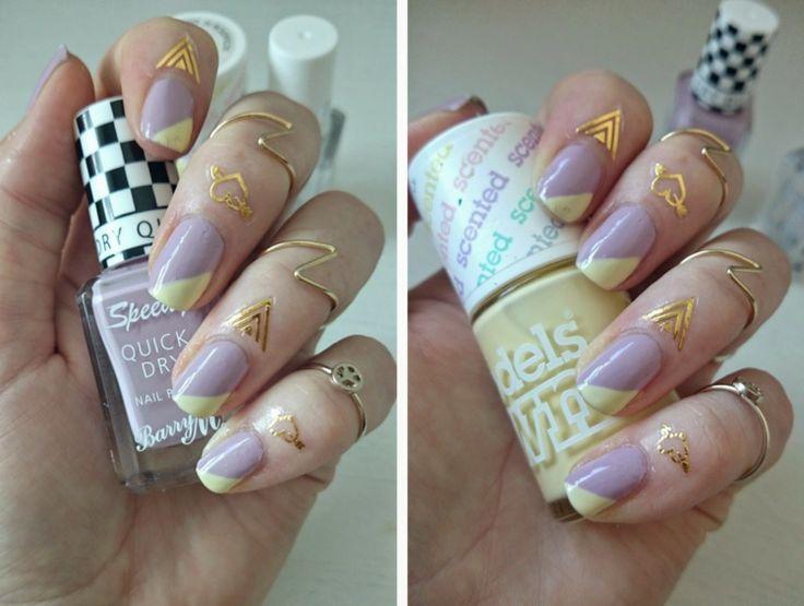 nageldesign trend 2016 gold tattoo nagelhaut lila nagellack