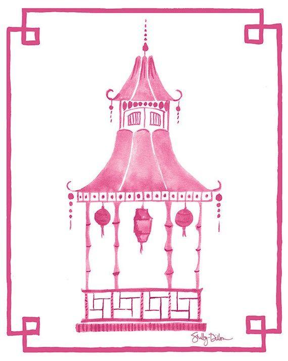 Pagoda Decor Pagoda Wall Print Pink Pagoda Art Pink Etsy Pagoda Decor Chinoiserie Art Wall Prints