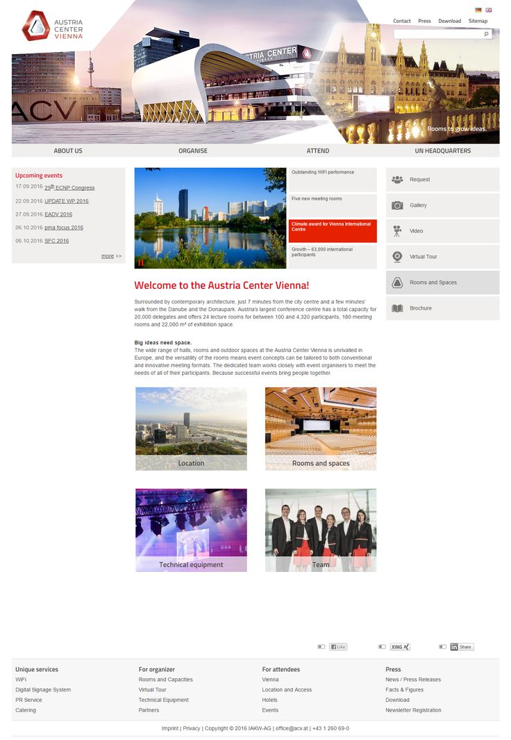 Austria Center Vienna website inspiration