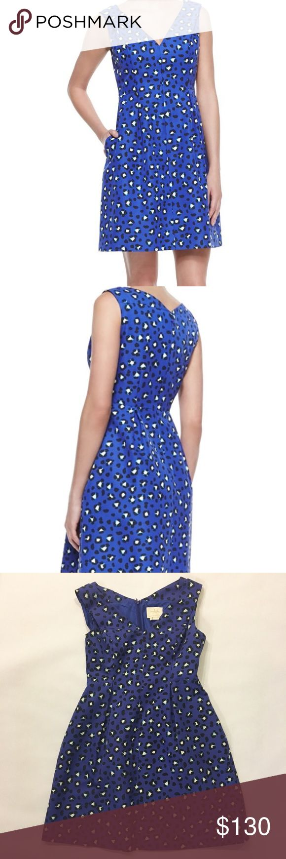 Kate Spade NY Dawson Cyber Cheetah dress Kate Spade NY Dawson Cyber Cheetah dress in vivid, emperor blue. V-neckline, sleeveless with A-line silhouette. Has side seam pockets and a hidden back zip. Cotton/silk with polyester lining.  Size 6 in EUC kate spade Dresses