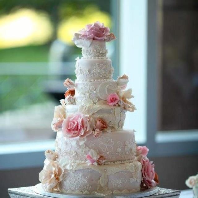 Pink Champagne Victorian Wedding Cake
