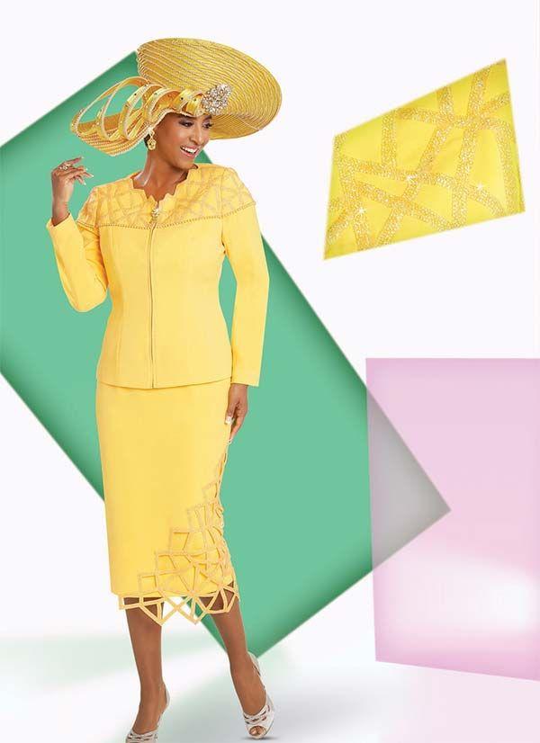 3622b394982 Donna Vinci 11730 Embellished Skirt Suit With Geometric Applique Design