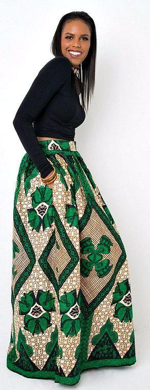 Maxi skirt. African print. Cotton. Back zipper. Small elastic on each side of the zipper. Ankara | Dutch wax | Kente | Kitenge | Dashiki | African print dress | African fashion | African women dresses | African prints | Nigerian style | Ghanaian fashion | Senegal fashion | Kenya fashion | Nigerian fashion (affiliate)