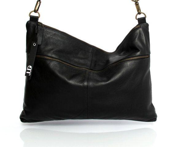 Black leather messenger bag  soft leather purse SALE by JUDtlv