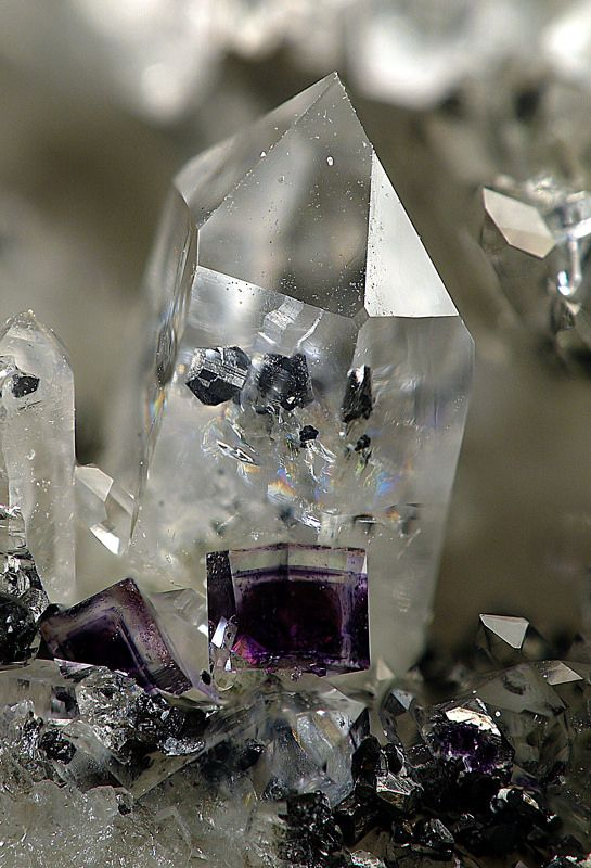 Quartz with Wolframite inclusions and Fluorite