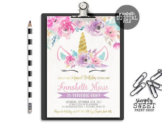 Unicorn Birthday Invitation Invite Magical Floral Flower Unicorn Face Dreamy Pink Teal Purple Gold Pretty Glitter Winter Baby Shower Horse