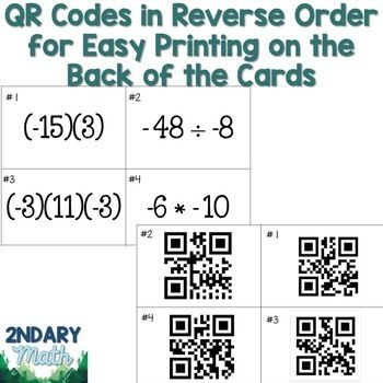 Multiplying and Dividing Integers QR Task Cards