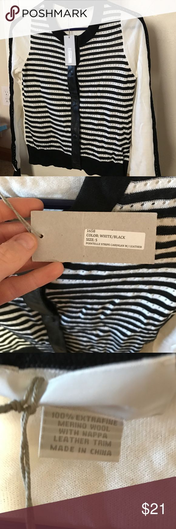 New with tags-Black and White striped cardigan New with tags-never worn. Pointelle stripe cardigan with leather down the middle. Smoke-free/pet-free home. Size small M.Patmos Tops