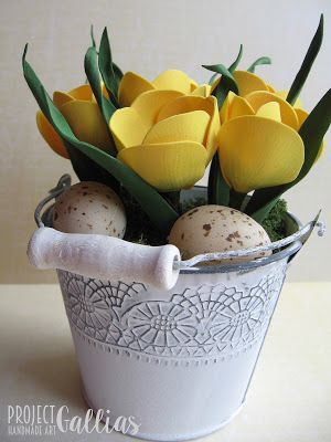 ProjectGallias: #projectgallias Yellow spring flowers, Wiosenne żółte krokusy, dekoracja, Handmade