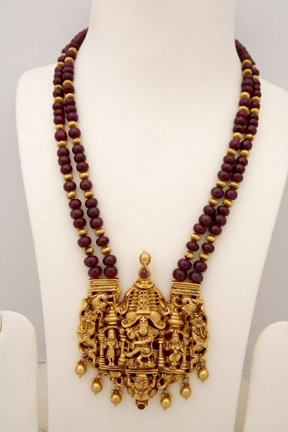Indian Jewellery and Clothing: Antique temple jewellery with ganesh and lord krishna pendants.. Deepika. DkPinboard trails~*~