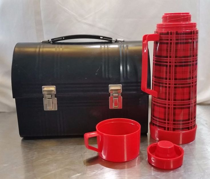Vtg. Aladdin Lunch Box Black Carrying Case & Red Black Plaid Thermos Collectible #Aladdin