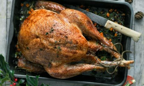 A nicely browned turkey roasted in the oven is always on the dinner table Christmas day. Yum.